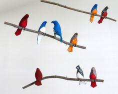 Mobili multicolor ~ Bird mobile multicolor or white fabric birds on one natural