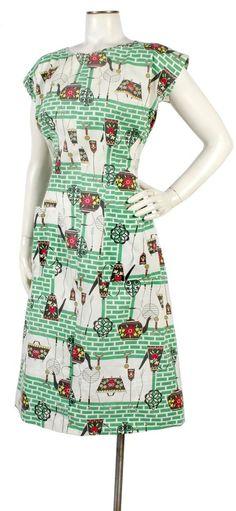 Vintage 1940s Novelty Print Day Dress Mid-Century Modern Kitchen & Bricks M/L #DayDress #40sdress #noveltyprint
