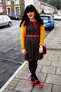 Color combination for my navy pokla dot shirt, pair with a mustard cardigan and red mary janes  <3 this look from the ModCloth Style Gallery! Cutest community ever. #indie #style
