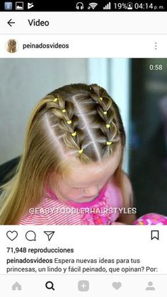 Nice children's hairstyles for young girls. creative hairstyles for ch Childrens Hairstyles, Girls Hairdos, Baby Girl Hairstyles, Princess Hairstyles, Toddler Hairstyles, Young Girls Hairstyles, Braided Hairstyles, Rubber Band Hairstyles, Girl Haircuts