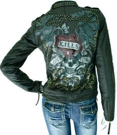 Ed Hardy jacket. Love the design Swag Outfits, Classy Outfits, Casual Outfits, Fashion Outfits, Ed Hardy Designs, Biker Wear, Custom Leather Jackets, Military Looks, Christian Audigier