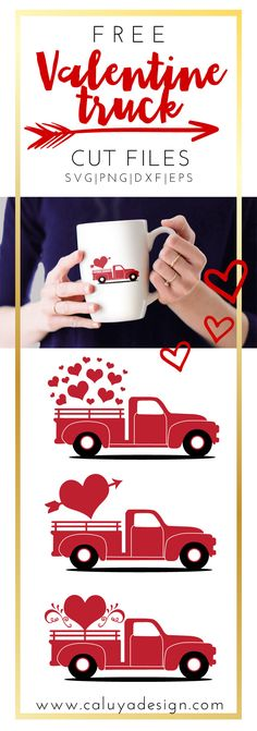 Free Valentine old truck SVG, PNG, EPS, DXF compatible with Cricut, Cameo Silhouette. need to make this from jordyn to lucian :) Valentine Day Crafts, Valentine Decorations, Valentine Heart, Valentine Flowers, Valentine Ideas, Machine Silhouette Portrait, Free Printable Clip Art, Shilouette Cameo, How To Make Planner