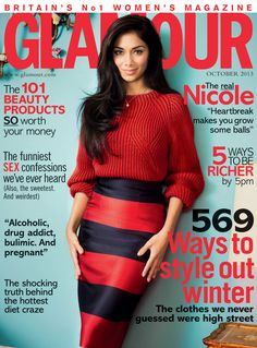 American musician Nicole Scherzinger wearing Burberry Prorsum on the cover of the October issue of Glamour UK