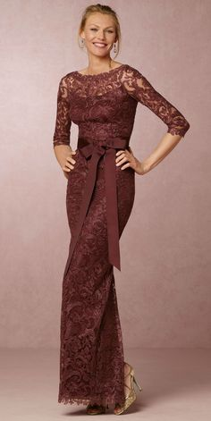 Gorgeous dark rose / wine colored lace gown | Love this for the Mother-of-the-Bride from @BHLDN