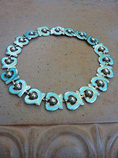 Margot de Taxco Mexico Sterling Aqua Blue Enamel Necklace