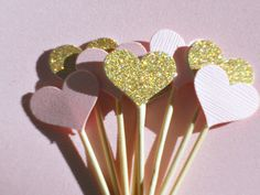Gold Heart Cupcake Toppers - Bridal Shower Cupcake Toppers - Baby Shower Cupcake Toppers - Gold Glitter Pink Cupcake Toppers -  PST1 by suziescards on Etsy https://www.etsy.com/listing/262795769/gold-heart-cupcake-toppers-bridal-shower