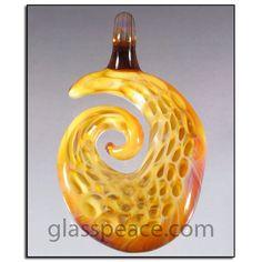 Honeycomb Blown Glass Pendant - Boro Lampwork Focal Bead by Glass Peace $35.95