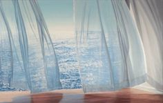 Art work with ocean view and curtains blowing ALICE DALTON BROWN