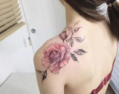Vintage watercolor roses on back shoulder by Tattooist Flower