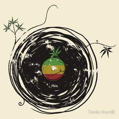 Reggae Music Peace - Vinyl Records Weed Pot - Cool Retro Music DJ T-Shirt