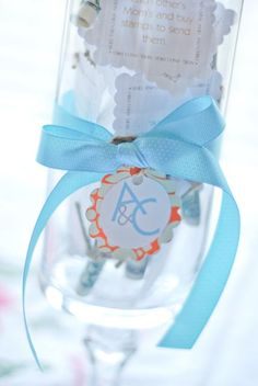 """Great bridal shower idea. It's called """"date in a jar,"""" filled with cheap date ideas for newlyweds to go on."""