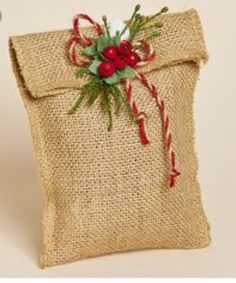 Set of Three, Maine Balsam Burlap Sachet with Red Berries, Faux Pine and a Natural and Red Jute Bow Christmas Gift Bags, Burlap Christmas, Christmas Gift Wrapping, Christmas Projects, Country Christmas Decorations, Christmas Tree Decorations, Christmas Ornaments, Burlap Projects, Burlap Crafts