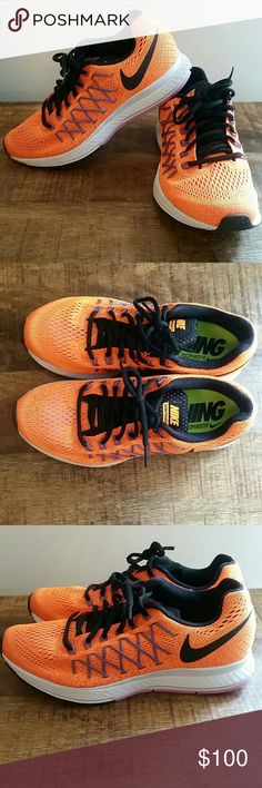 Nike air zoom Pegasus 32 Women's size 8 Bright citrus/black/violet frost  Lightly worn inside a couple of times to try on.  Comes with box. Nike Shoes Sneakers