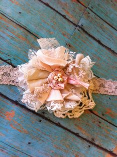 Shabby Vintage Tea Dyed Linen Peach & Lace/ by DolledandDazzled
