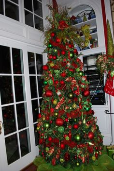 lwhite tree with ime green and red ornaments   red / lime green ...