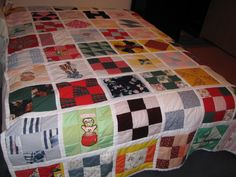 Memory quilt I made for Tonya from fabrics used in clothing over the girls young years.