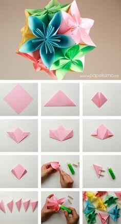 Cómo hacer colgante flores de papel | Aprender manualidades es facilisimo.com