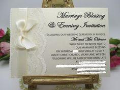 V0018 A6 Flat Card Ivory Lace Satin Wedding Evening Invitation Available from www.vintagelaceweddingcards.co.uk
