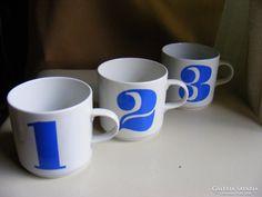 Retro alföldi porcelán bögre 1-2-3 együtt Cups, Glasses, Retro, Tableware, Eyewear, Mugs, Eyeglasses, Dinnerware, Tablewares