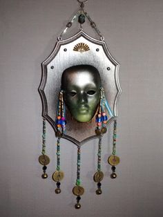 Art Nouveau ceramic mask wall art hanging by MagpieDoodads on Etsy