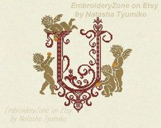 Monogram Letter U with angels. In style of от EmbroideryZone