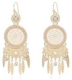 River Island Womens Gold tone ethnic diamanté dangle earrings
