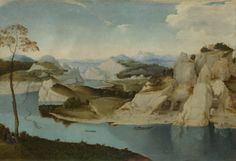 Imitator of Pieter Bruegel the Elder, Landscape: A River among Mountains, about 1600