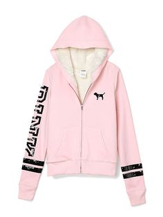 PINK Faux Fur Zip Hoodie-Light Pink