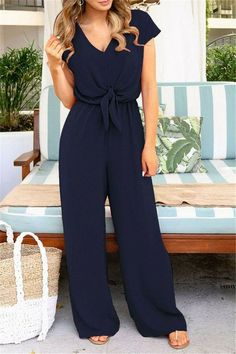 V Neck Solid Jumpsuits Lady Bow Loose Short Sleeve Long Romper Playsuits - V Neck Solid Jumpsuits Lady Bow Loose Short Sleeve Long Romper Playsui Elegante Jumpsuits, Jumpsuit Elegante, Pant Romper Outfit, Long Romper, Long Sleeve Romper, Jumpsuit With Sleeves, Fashion Moda, Moda Online, Overall