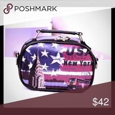 "USA CROSSBODY HANDBAG Unique USA Crossbody handbag gives just a bit of fun along with a dose of patriotism.  Sports a long zipper which fully opens the bag.  The handle is handy as well as the detachable adjustable 50"" strap. Bags Crossbody Bags"