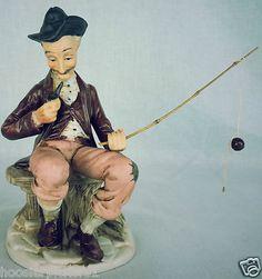 Vintage antique porcelain old man sitting fishing pole smoking a pipe Artmark