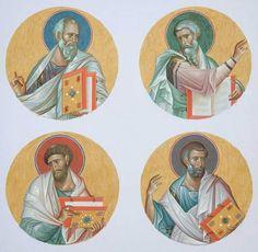 The Four Holy Evangelists Matthew, Mark, Luke and John the Theologian. Byzantine Icons, Byzantine Art, Religious Icons, Religious Art, Church Icon, Catholic Art, Art Icon, Orthodox Icons, Sacred Art
