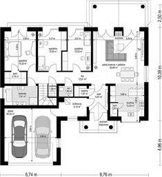 Projekt Dom na Parkowej 6 121,67 m2 - koszt budowy 258 tys. zł - EXTRADOM Home Design Plans, Plan Design, Bungalows, Cottage Design, House Design, Building Design, Building A House, Bungalow Style House, Living Room Floor Plans