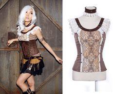 RQ-BL Choker Bluse Leder Top Steampunk Gothic Shirt Halsband Dirndl Creme SP021