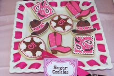 "Photo 1 of Cowgirl / Birthday ""Tessa's Cowgirl Party"" Cowgirl Party Food, Cowgirl Birthday, Country Birthday, 3rd Birthday Parties, Birthday Fun, Birthday Ideas, Fourth Birthday, Theme Parties, Cowgirl Cookies"