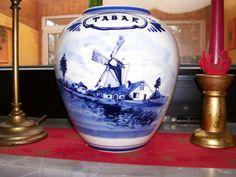 Holland-Niederlande-Delfts-Blue-Tabak-Keramik-Vase-Deko-Windmuehle