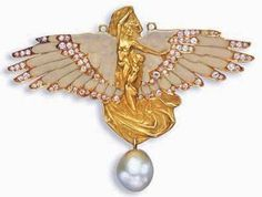 Lalique 1900 'Symbolist' Winged Female Figure Brooch: enamel/ baroque pearl/ gold/ diamond. christies.com