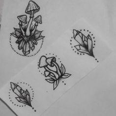 My designs (the mushrooms & crystal on the right). Tattoo Art, Tattoo Drawings, Body Art Tattoos, Cool Tattoos, Crystal Drawing, Mushroom Tattoos, Tattoo Designs, Tattoo Ideas, Crystal Tattoo