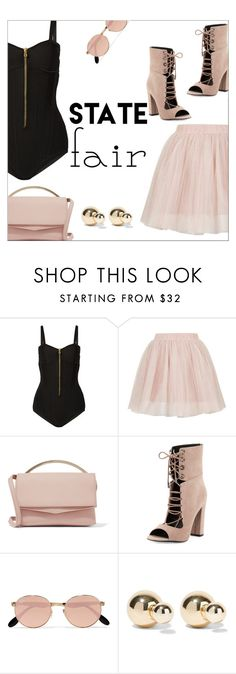"""""""Summer Date: The State Fair"""" by danielle-487 ❤ liked on Polyvore featuring Balmain, Topshop, Eddie Borgo, Kendall + Kylie, Ray-Ban, Kenneth Jay Lane, statefair and summerdate"""