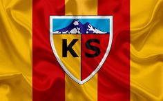 Download wallpapers Kayserispor, Turkish football club, emblem, Kayserispor logo, red yellow silk flag, Kayseri, Turkey, Turkish Football Championship