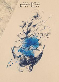 tattoo watercolor vintage flower bird design