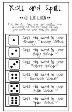 FREE  Roll and Spell - the OUT LOUD edition from Classity Class on TeachersNotebook.com -  (1 page)