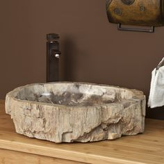Petrified Wood/rock sink like this one for hall bath - already purchased!  LOVE