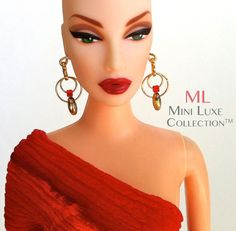 Doll Jewelry Gold Drop Earrings With Red Accents for Barbie, Fashion Royalty, Poppy Parker, Dynamite Girls and Silkstone Barbie by MiniLuxeCollection, $14.00