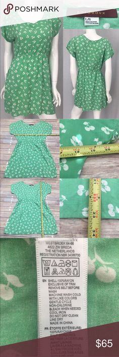 💓 Large Anthro Bordeaux Green Cherry Print Dress Measurements are in photos. Normal wash wear, has belt loops but does not come with a belt, 1 small run, no other flaws. A1/37  I do not comment to my buyers after purchases, due to their privacy. If you would like any reassurance after your purchase that I did receive your order, please feel free to comment on the listing and I will promptly respond.   I ship everyday and I always package safely. Thank you for shopping my closet…