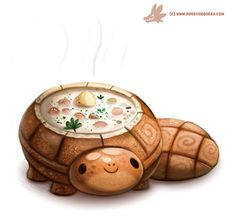 Daily Paint Bread Bowl Turtle by Cryptid-Creations Time-lapse, high-res and WIP sketches of my art available on Patreon (: Cute Food Drawings, Cute Animal Drawings Kawaii, Kawaii Drawings, Cute Fantasy Creatures, Cute Creatures, Animal Puns, Animal Food, Creature Drawings, Food Illustrations