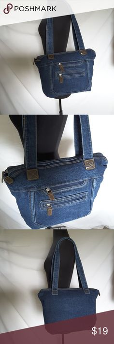 "Large Jean Bag Purse  Blue  Jean Shoulder Bag This bag is new but does not have a tag. Width: 16"" Height: 11.5"" Depth: 4"" Strap drop: 13""  My home is smoke-free and pet-free.  Check out the other items in my closet and bundle two or more items for a great bundle discount.  I consider all offers.  Happy POSHING! Bags Shoulder Bags"