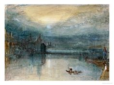 Lucerne by Moonlight: Sample Study, Circa 1842-3, Watercolour on Paper Giclee Print by William Turner at AllPosters.com