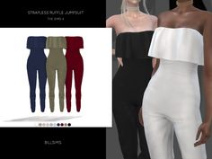 Strapless Ruffle Jumpsuit (TS4) • New Mesh • All LODs and Morphs • Custom Shadow Map • HQ mod compatible • Female, Teen-Elder • Everyday/Formal/Party • 10 different colour variations • CAS thumbnail...