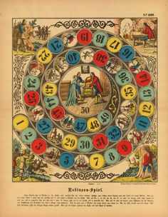 Circular game-board with fifty numbered fields for cutting out, featuring the story of Robinson Crusoe at centre, in unnumbered fields and in the four corners; No.1609 from a series.  Stencil-printed lithograph, with additional hand-colouring
